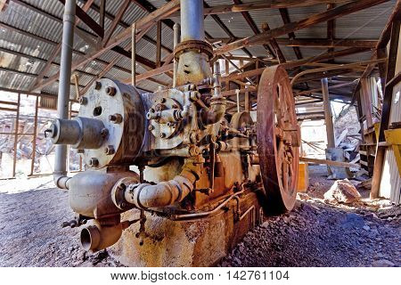 Abandoned gold mine milling machinery at the abandoned Martinez mine near Phoenix and Florence Arizona.