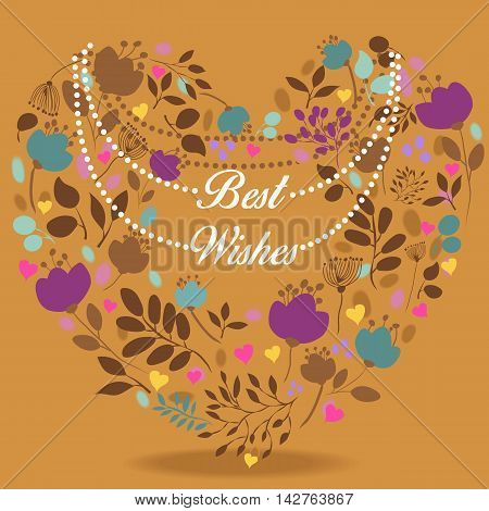 Colorful floral heart with text Best wishes. Colorful silhouettes of graceful flowers and plants. White necklace with letters. Greeting vintage card.