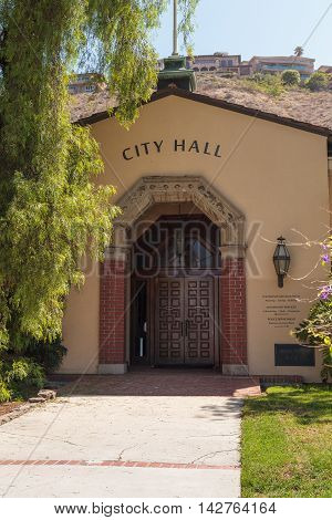 Laguna Beach, CA, USA - August 13, 2016: Laguna Beach City Hall entryway in Southern California during the summer.