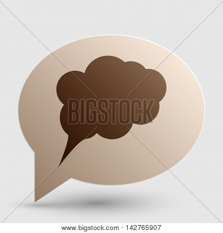 Speach bubble sign illustration. Brown gradient icon on bubble with shadow.