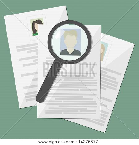 Three resume and magnifier, cv, document, search