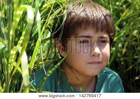Boy child age nine portrait in tall green grass, blue green shirt, green eyes, brown hair.