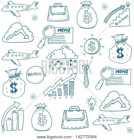 Doodle set business hand draw stock collection