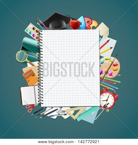 Back to scnotepad blank page school background with education workplace accessories. vector illustrationhool background with school supplies education workplace accessories. vector illustration