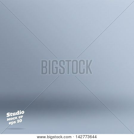 Vector ,empty Rich Color Style Of Light Pale Blue Studio Room Background ,template Mock Up For Displ