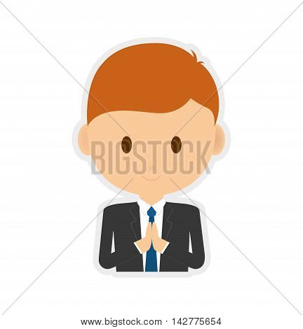 pray boy kid religion catholicism icon. Isolated and flat illustration