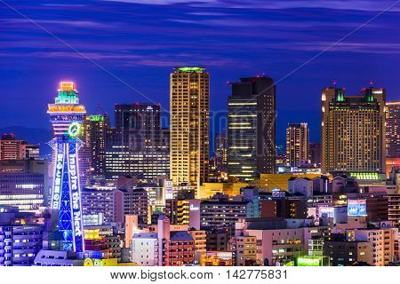 OSAKA, JAPAN - AUGUST 17, 2015: Tsutenkaku tower in the Shinsekai district of Osaka.