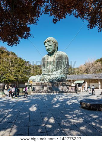 Daibutsu, The Bronze Statue Of Amitabha Buddha Located At The Kotokuin Temple In Kamakura, Japan