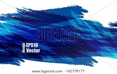 Colorful vector banner with half tone texture over white. Elements for your design. Blue paint background. Eps10