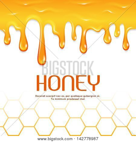 Dripping honey seamless vector border. Natural sweet honey, illustration of golden liquid honey