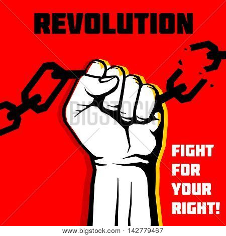 Vector freedom, revolution protest concept background with raised fist. Aggressive revolution and chain breaking, illustration of banner protest and revolution