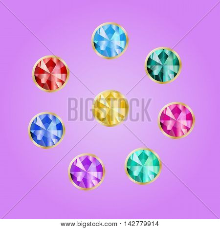 Set of jewels in a gold frame. Collection of bright stone round shape in the rim. Vector gems on pink background