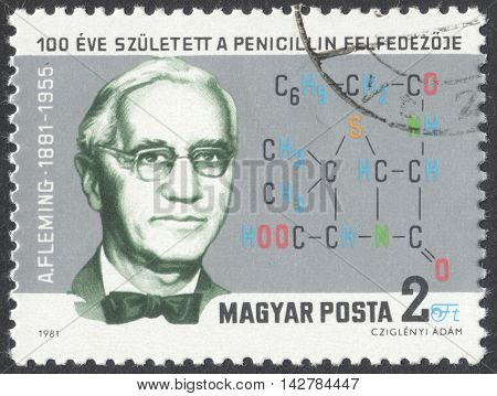 MOSCOW RUSSIA - CIRCA JUNE 2016: a post stamp printed in HUNGARY dedicated to the 100th Anniversary of the Birth of Alexander Fleming circa 1981