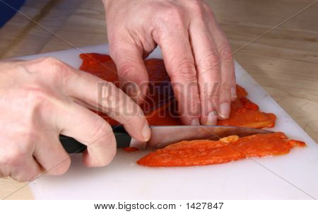 Slicing Roasted Red Bell Pepper