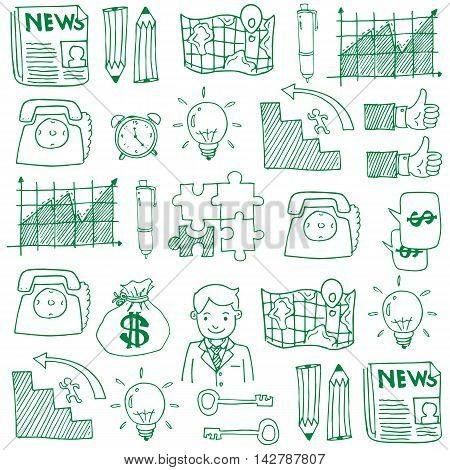 Doodle of business set stock vector illustration