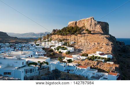 Lindos on Rhodes island Greece.City In the centr island.