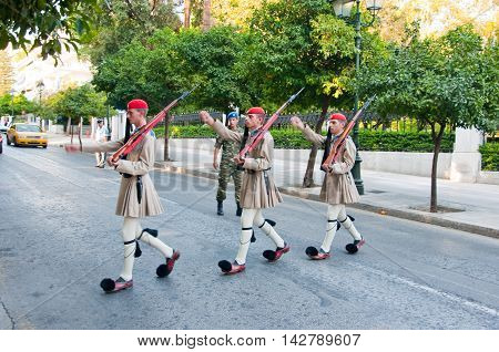 Greek Evzones on August 4 2013 in Athens Greece.