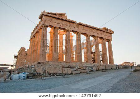 The Parthenon on the Athenian Acropolis in Athens Greece.