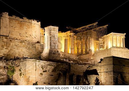 View of the Acropolis of Athens at night from Areopagus hill. Athens.