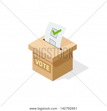 Voting box vector illustration with inserting paper sheet of elected checkmark, flat cartoon isometric vote box isolated on white background