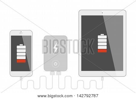 Gadgets with powerbank. Phone and tablet charging with portable powerbank. Low battery. Isolated gadgets on white background. poster