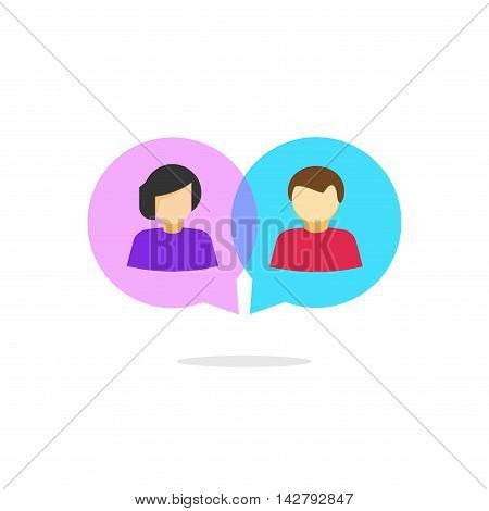 Online chat vector logo isolated on white background, abstract flat cartoon man and woman chatting in bubble speeches illustration, concept of team communication, relation, talking, relationship