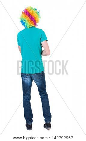 back view of dancing young beautiful  man  in clown wig.  Rear view people collection.  backside view of person.  Isolated over white background. Curly man in a turquoise sweater and clown wig