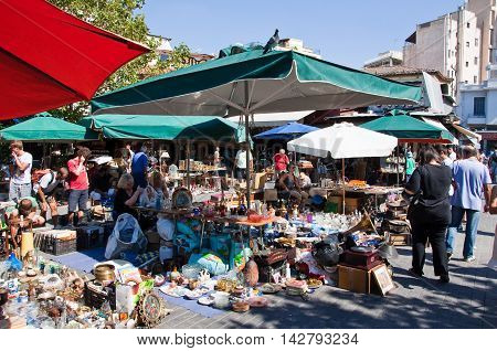 The flea market in Monastiraki on August 4 2013 in Athens Greece.