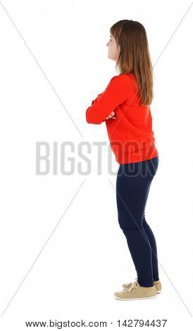 back view of standing young beautiful  woman.  girl  watching. Rear view people collection.  backside view of person. The girl in the red sweater is left side with his arms crossed.