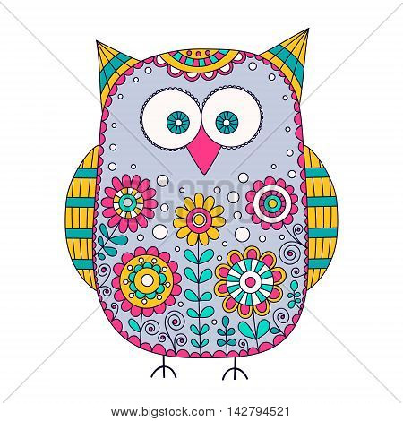 Cute vector owl with hand drawn floral ornament. Nice bird with doodle flowers bubbles and curls. Isolated. Retro colors - yellow pink grey green and white.