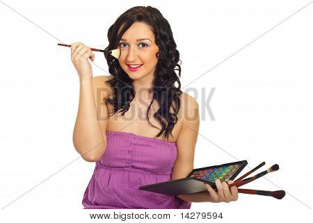 Beauty Woman Brushing Face