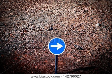 Traffic sign in the volcanic region of Lanzarote in Canary Islands Spain
