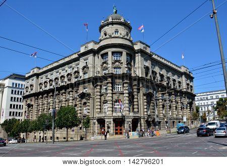 BELGRADE, SERBIA - AUGUST 15, 2016: Serbia governmental building exterior