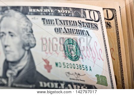 American ten dollars, a business background with American money