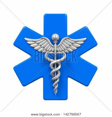 Star of Life Caduceus Symbol isolated on white background. 3D render