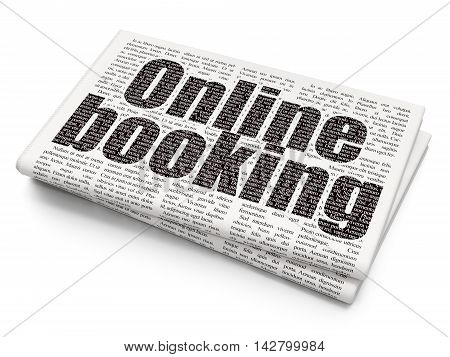 Travel concept: Pixelated black text Online Booking on Newspaper background, 3D rendering