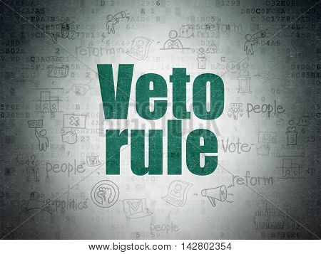 Political concept: Painted green text Veto Rule on Digital Data Paper background with  Scheme Of Hand Drawn Politics Icons
