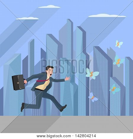 anxious business man running and trying to catch some money symbols