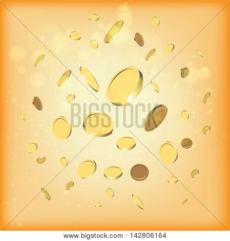 Gold coins falling vector illustration. Business concept for finances and economics with golden money dropping down.
