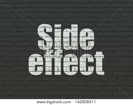 Health concept: Painted white text Side Effect on Black Brick wall background