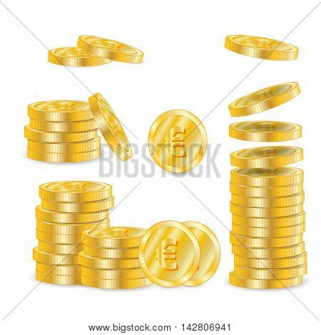 Set of gold money coins on white isolated on a white background