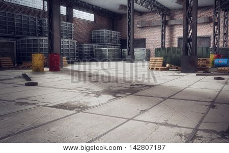 Old huge empty abandoned warehouse. 3d rendering