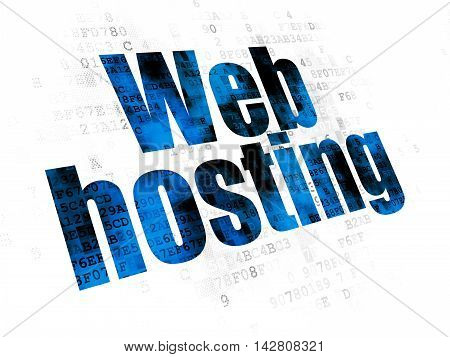Web design concept: Pixelated blue text Web Hosting on Digital background