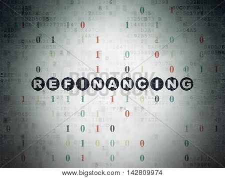 Business concept: Painted black text Refinancing on Digital Data Paper background with Binary Code
