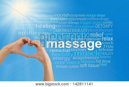 Love Massage word cloud - female hands making a heart shape with a MASSAGE word cloud on the right, blue sky background and bright sun burst in top left corner