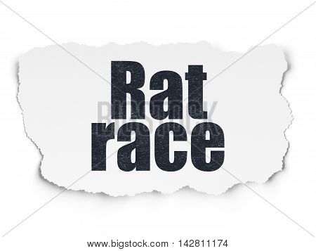 Business concept: Painted black text Rat Race on Torn Paper background with  Tag Cloud