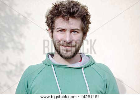 Portrait Of One Young Man Only Smiling