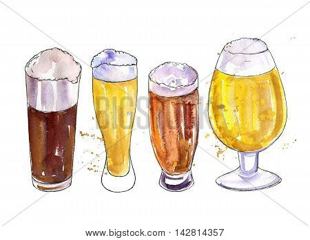 watercolor mugs and glasses of beer, alcohol drink, octoberfest symbol, hand drawn illustration, oktoberfest template