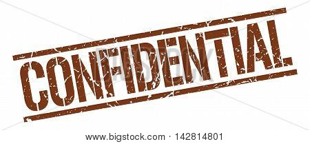 confidential stamp. brown grunge square isolated sign