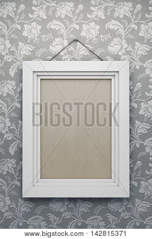Empty vintage picture frame on wall. 3d rendering